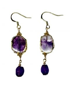 Natural Sliced and Faceted Amethyst Bead Earrings