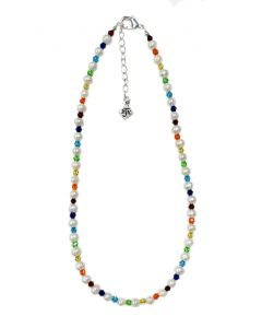 Cultured Pearl and Faceted Crystals Necklace