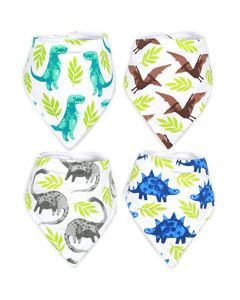 Set of Four Dinosaur Drool Bibs