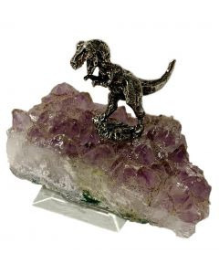Miniature Pewter T.Rex on Amethyst Stand