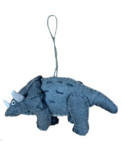 Handcrafted Gray Felt Triceratops Ornament
