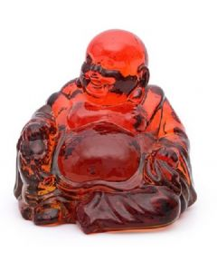 Handcrafted Red Glass Laughing Buddha