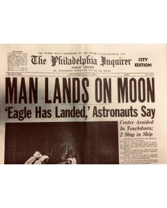 Man Lands On Moon 1969 Newspaper Reprint