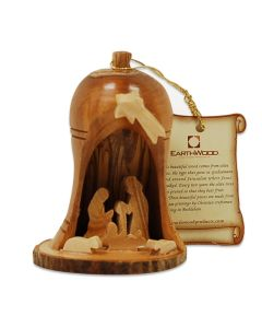 Olive Wood Nativity Bell with Bark Base