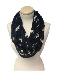 Rayon Black and White Dino Infinity Scarf