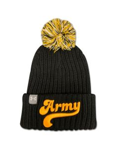 Black/Yellow Army Pom Beanie (Under Armour)