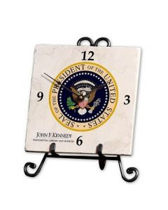 Presidential Seal Marble Desk Clock with Cast Iron Stand
