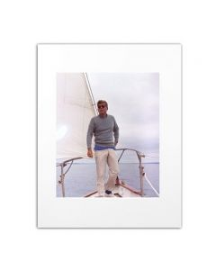 Matted Photo of President Kennedy Sailing on Manitou