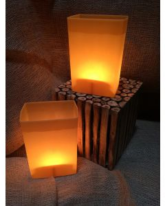 Brown Luminary with Votive Candle