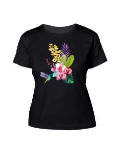 Ladies Black Tropical Orchids Tee