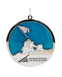 Silver & Blue NMMC Iwo Jima Flag Raising Ornament