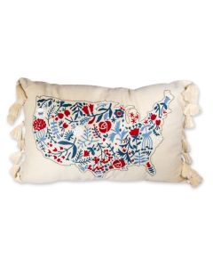 United States of America Embroidered Floral Pillow
