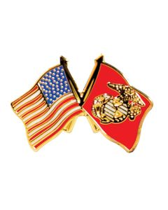 USA & USMC Flags Lapel Pin
