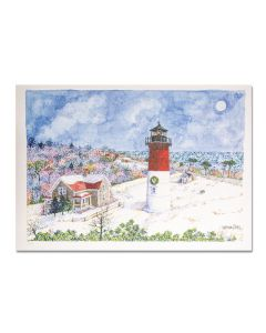 Moon Rise Nauset Light Holiday Cards